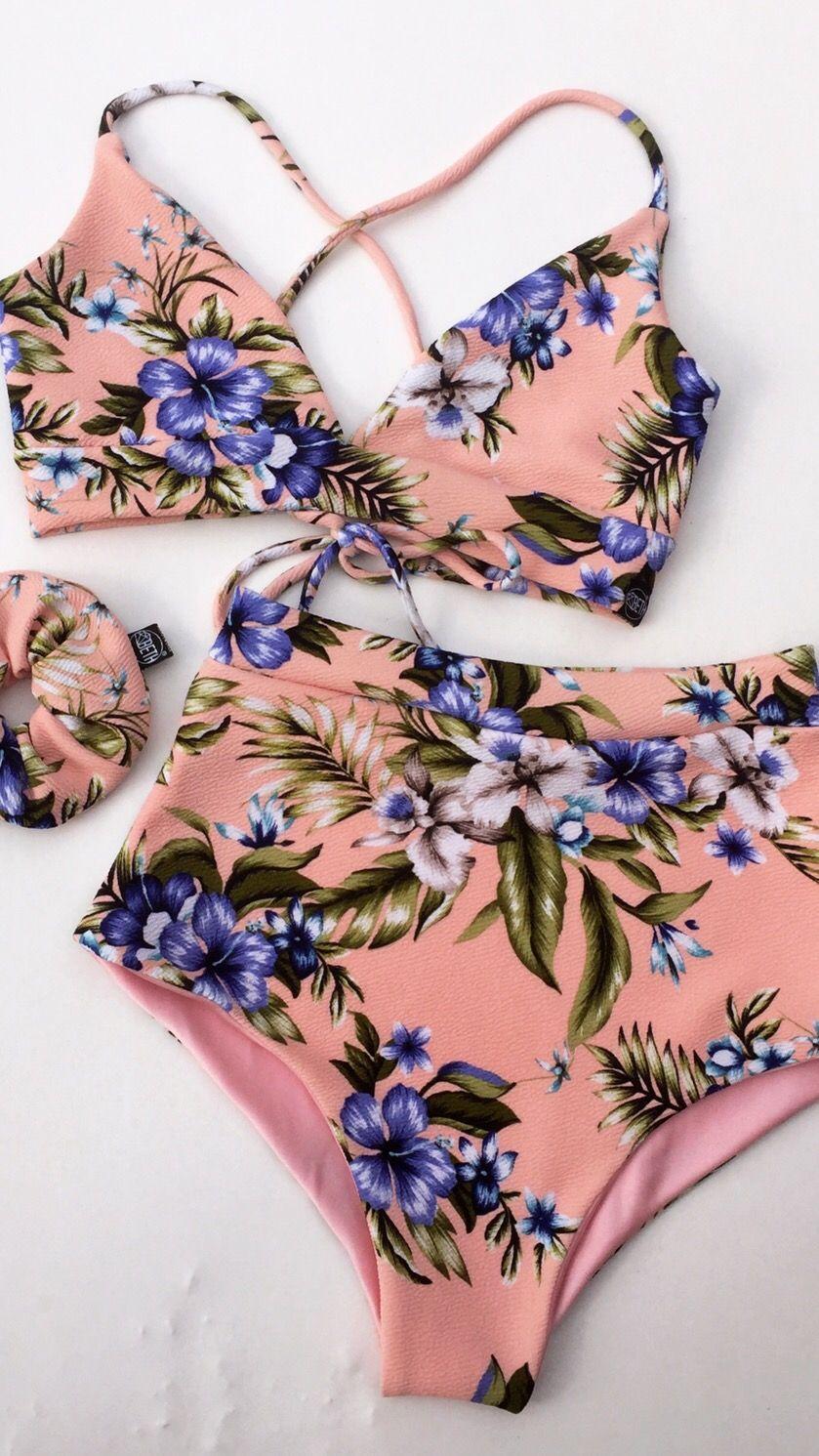 Traje De Bano Dos Piezas Cintura Alta Rosa Floral Bikini De Dos
