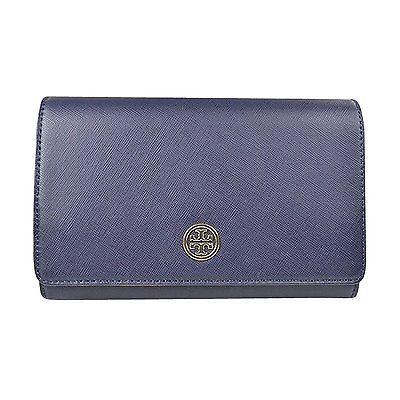 Authentic Tory Burch Robinson Navy Chain Wallet Leather Crossbody Handbag NWT