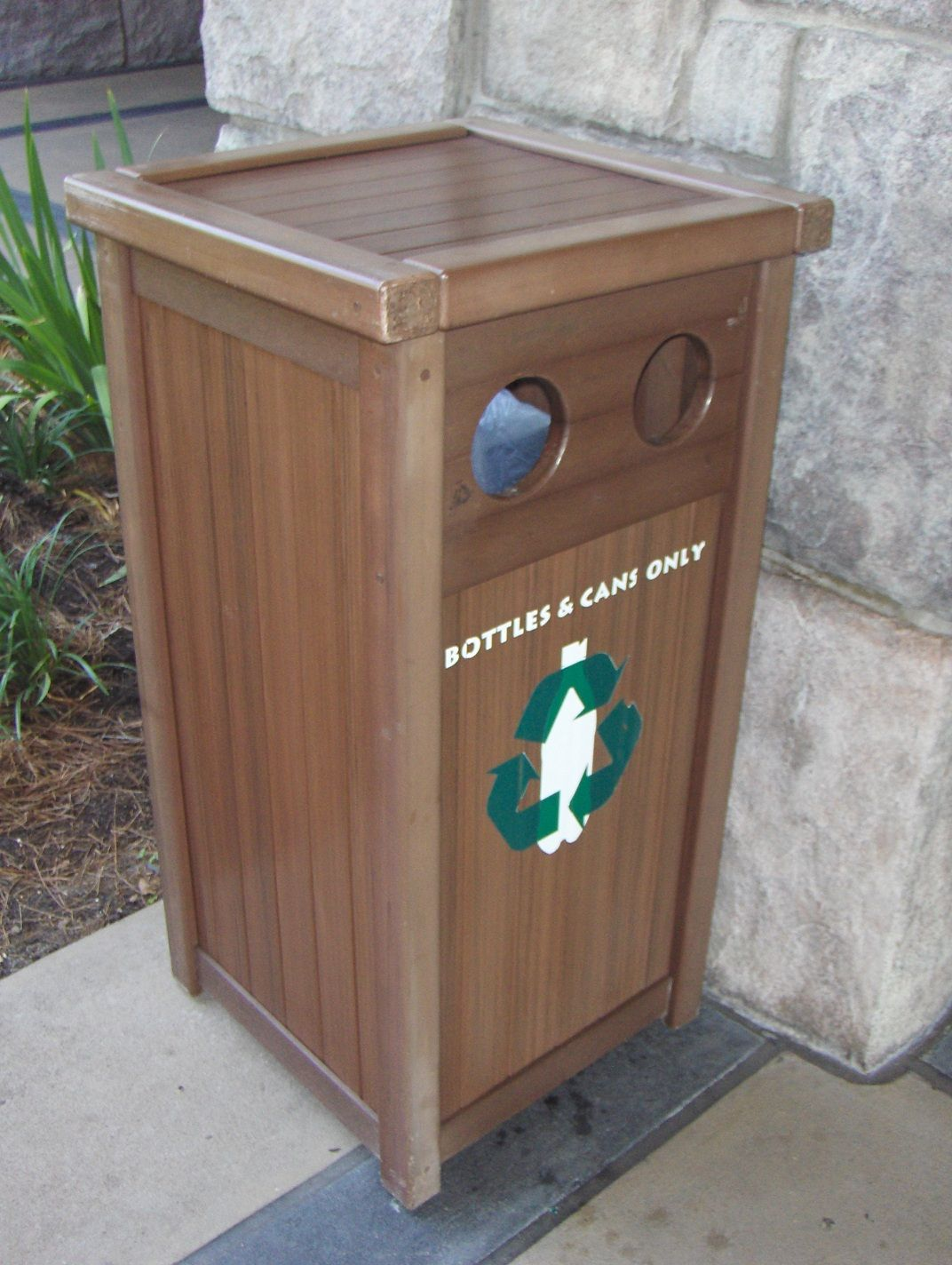 Custom Made Synthetic Wood Recycle Receptical With Images Synthetic Wood Recycle Receptacle Wood