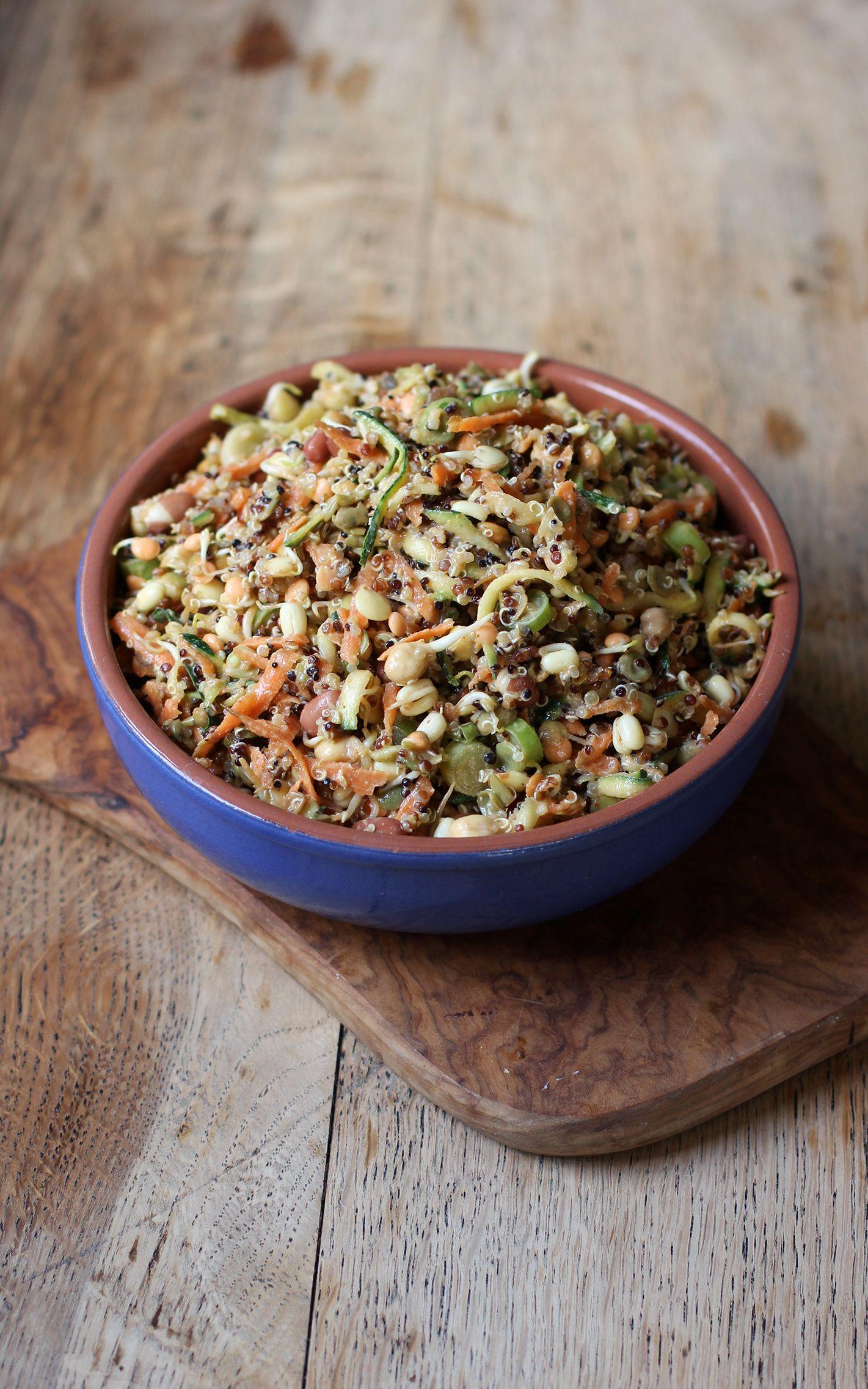 Healthy Delicious Quinoa Bean Sprout Salad