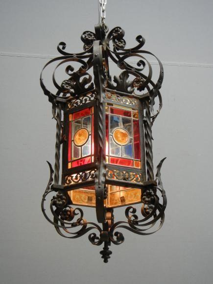 Vitrail Lanternes Lanterne Ancienne En Fer Forge Epoque 1900 Lanternes Anciennes Lanterne Fer Forge