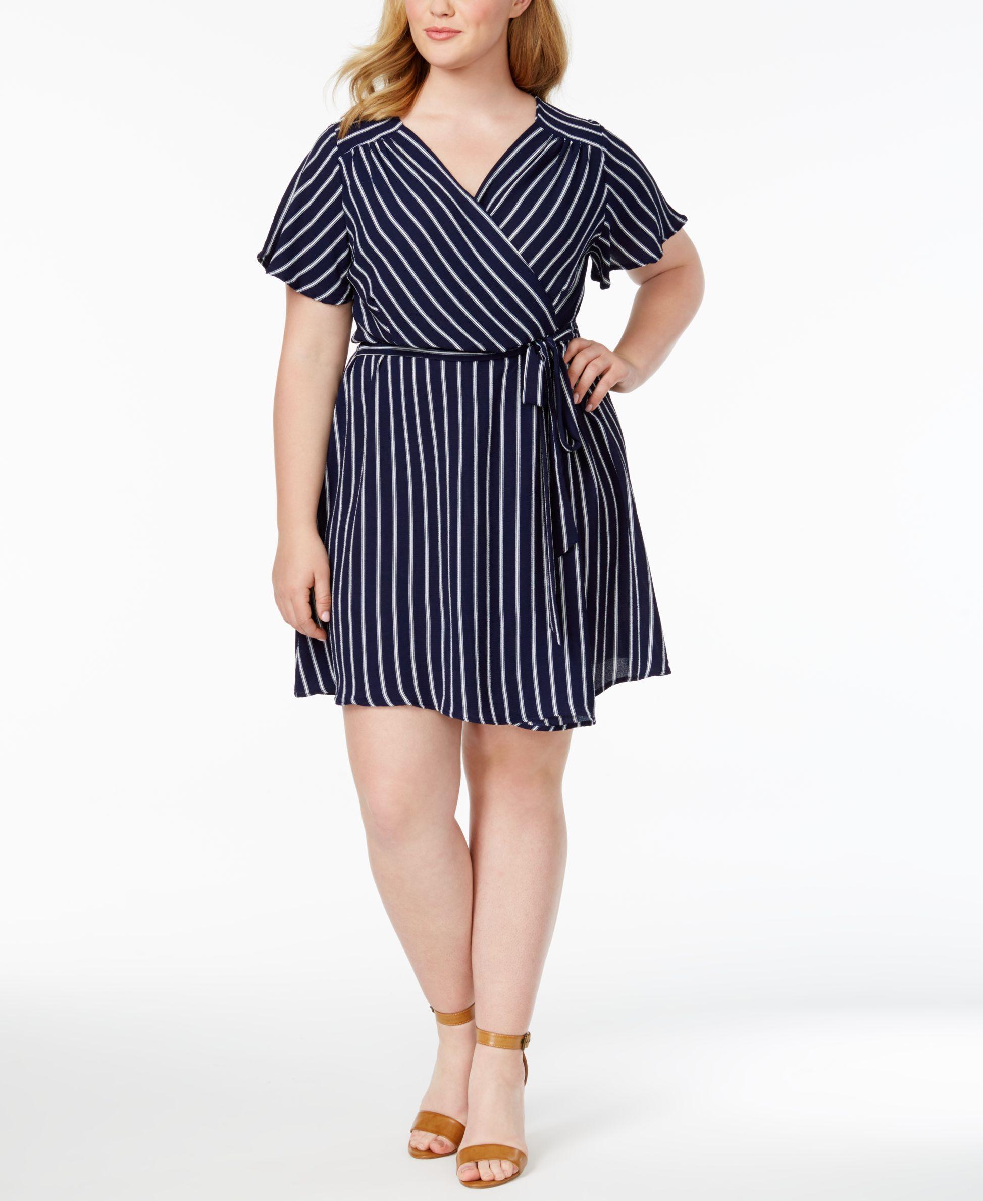 c12906cff0f Monteau Trendy Plus Size Striped Faux-Wrap Dress