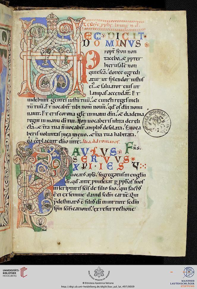 Vatikan, Biblioteca Apostolica Vaticana, Pal. lat. 497 Lectionarium epistolarum missae ex Vetere et Novo Testamento, per anni circulum 12. Jh. Bibliotheca Palatina Zitierlink: http://digi.ub.uni-heidelberg.de/diglit/bav_pal_lat_497 i URN: urn:nbn:de:bsz:16-diglit-139828 i Metadaten: METS IIIF Manifest: http://digi.ub.uni-heidelberg.de/diglit/iiif/bav_pal_lat_497/manifest.json