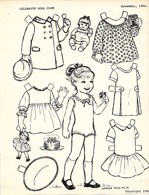 Paper dolls to color cute