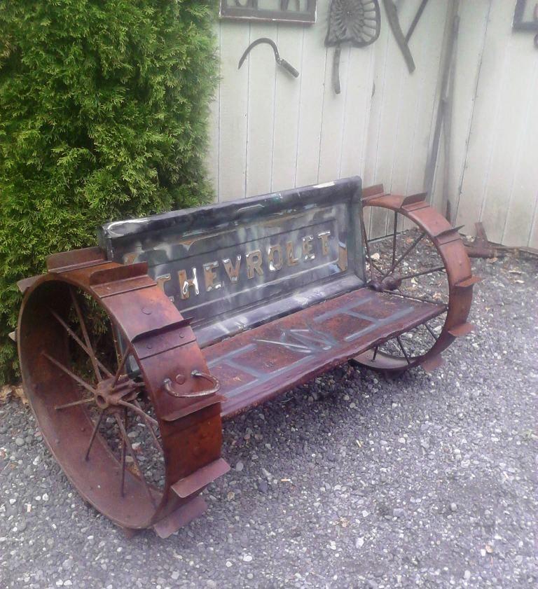 Tailgate Bench Seat Truck Vintage Steel Wheels Yard Art