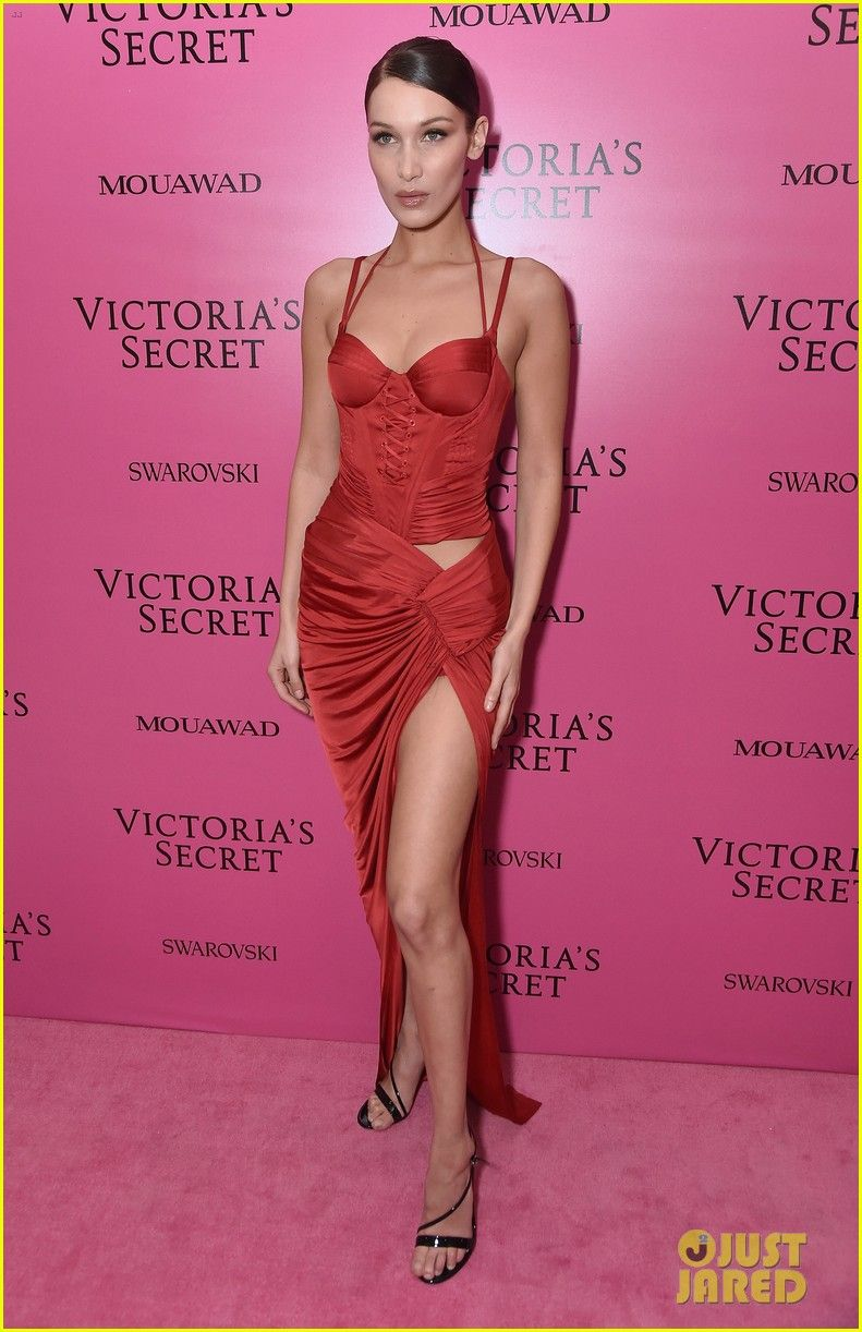 4bf735f205 Bella Hadid Stays Smiley in Sexy Red Dress at Victoria s Secret Fashion  Show After Party!