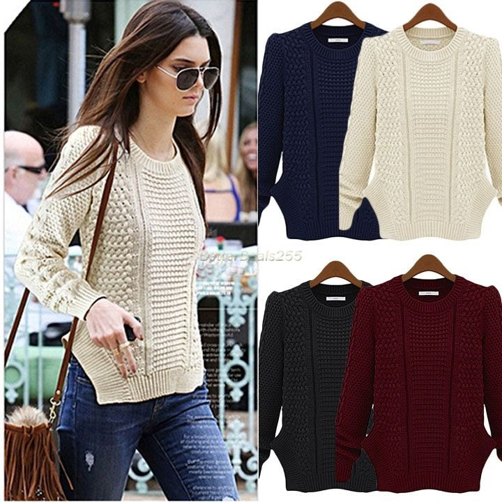 Women Knitted Pullover Jumper Sweater Round Neck Long Sleeve Tops Loose Knitwear #Unbranded