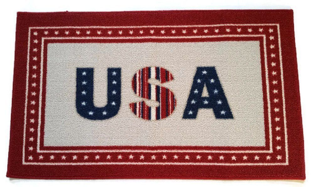 Americana Patriotic Door Mat Usa Stars And Stripes Red White Blue