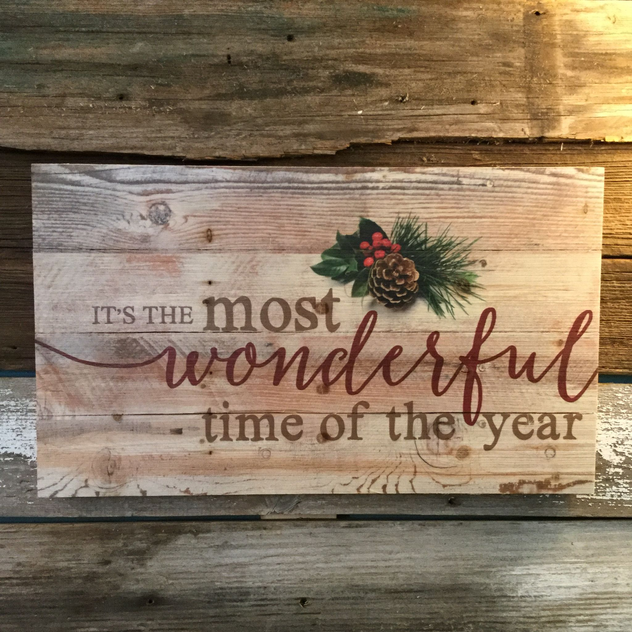 pallet sign rustic pine most wonderful time of the year - Christmas Pallet Signs