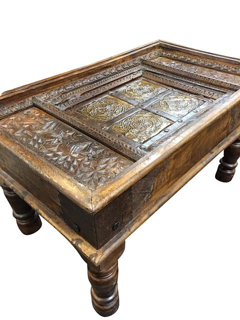Antique Furniture Old Door Solid Wood Carving Coffee Table Antique