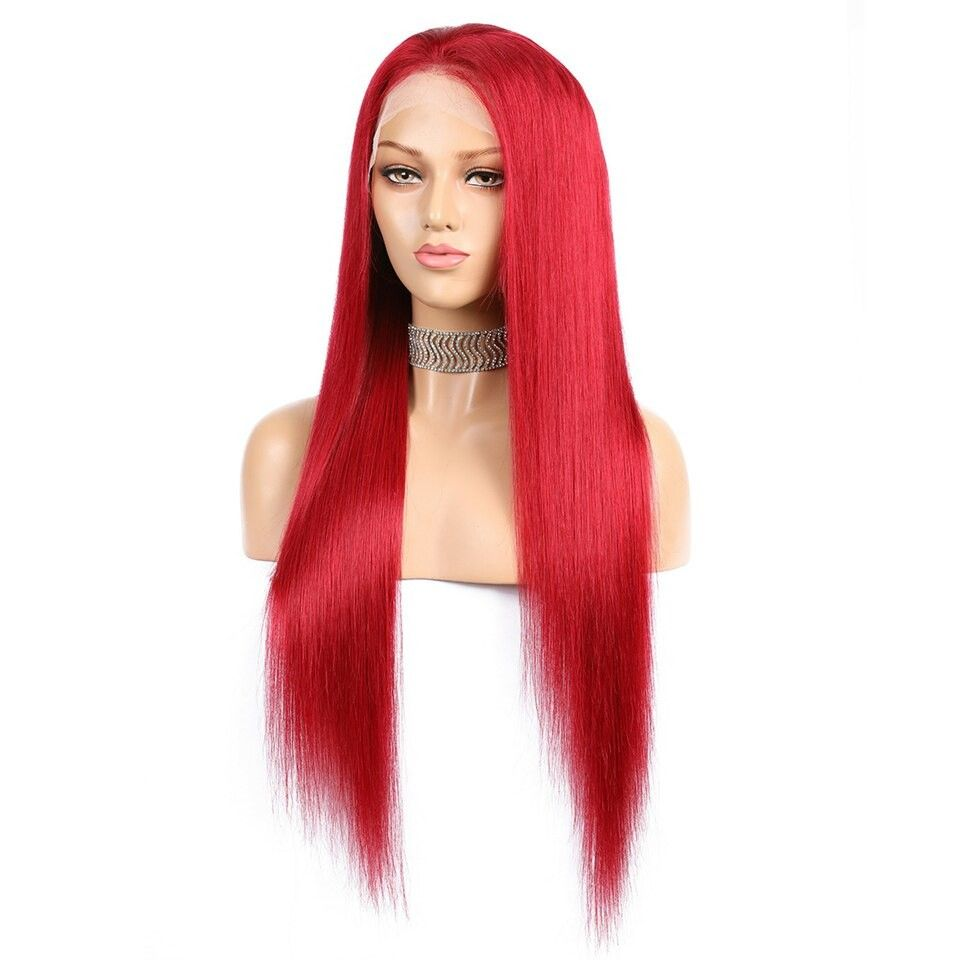 Red Long Straight Lace Front Remy Human Hair Wig #humanhairextensions