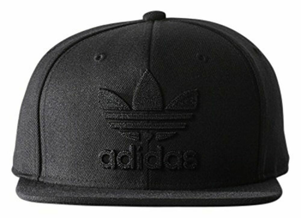 One Size Fits Most Embroidered Adidas Trefoil Snapback Flat Cap Black White