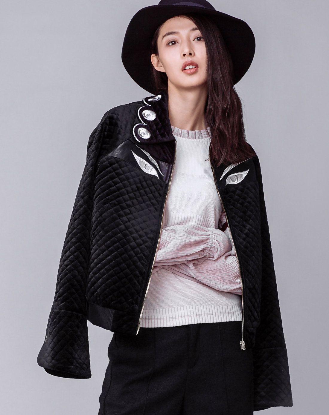 #AdoreWe #VIPme Jackets - YUNSIMUXIANG Black Trumpet Sleeve Embroidery Casual Crop Jacket - AdoreWe.com