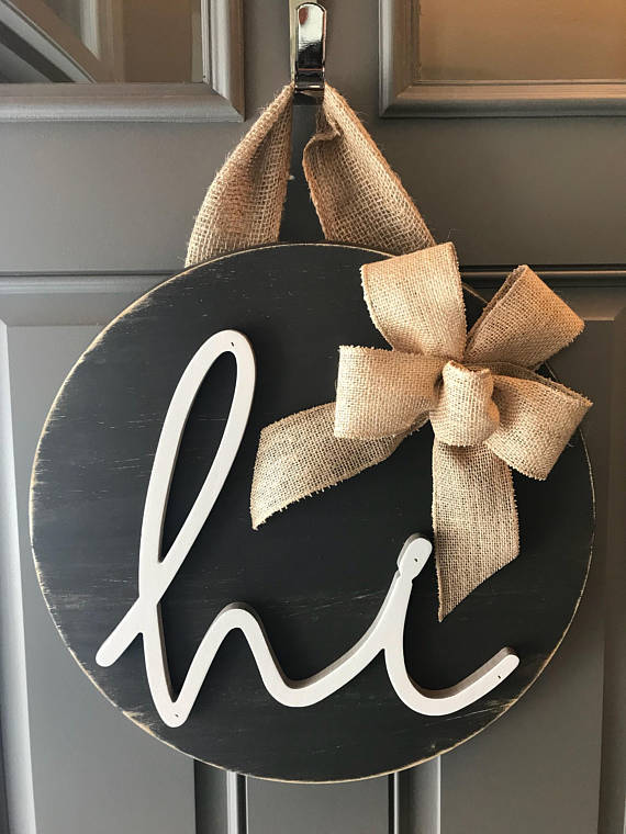 Door Hanger, Hi, Year Round Door Wreath, Wood Door Sign, Front Door Decor,  Round Hanging Sign, New Home Gift, Real Estate Client Gift, ...