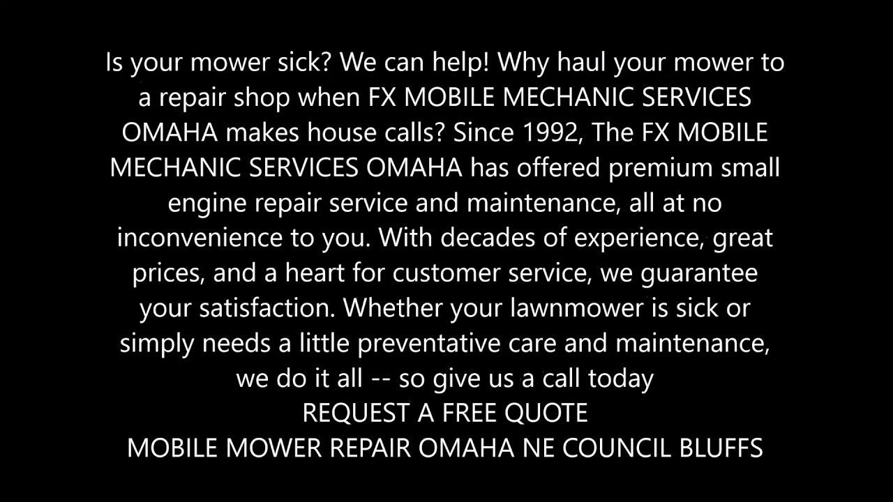 Mobile Mower Repair Service and Cost in Omaha Nebraska