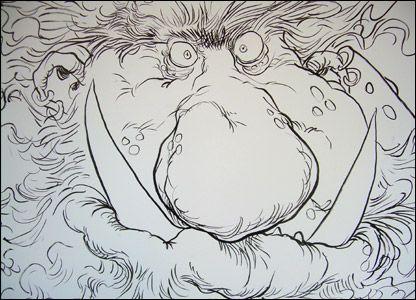 Bonecruncher - BFG Giant by illustrator Chris Riddell for a London Book Display