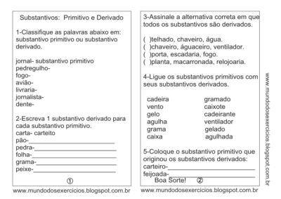 Atividades Sobre Substantivos Para Aprendizado Portugues