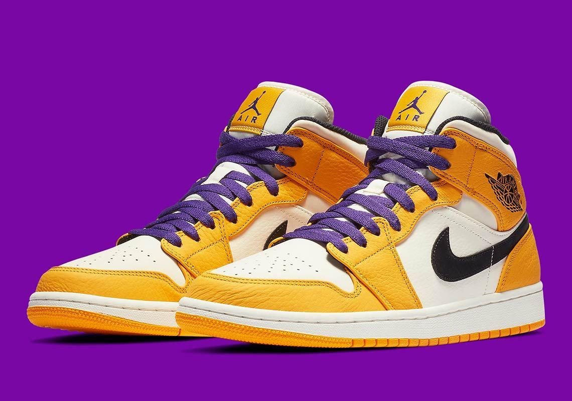 Jordan 1 Mid Lakers 852542 700 Release Info Sneakernews Com Air Jordans Air Jordans Retro Nike Shoes Jordans