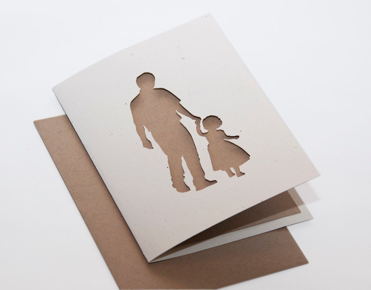 Fathers Day Card Father And Daughter Cut Silhouette Card