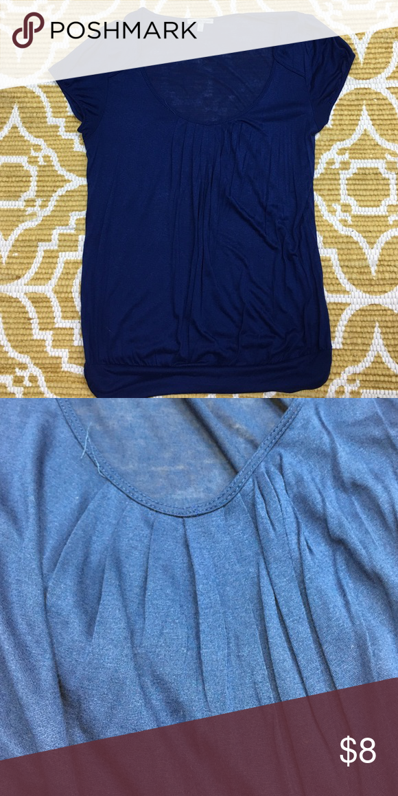 NWOT Large Navy Charlotte Russe Shirt NWOT Large Navy Charlotte Russe Shirt with Gathering Under Scoop Neck - 100% Viscose Charlotte Russe Tops Tees - Short Sleeve