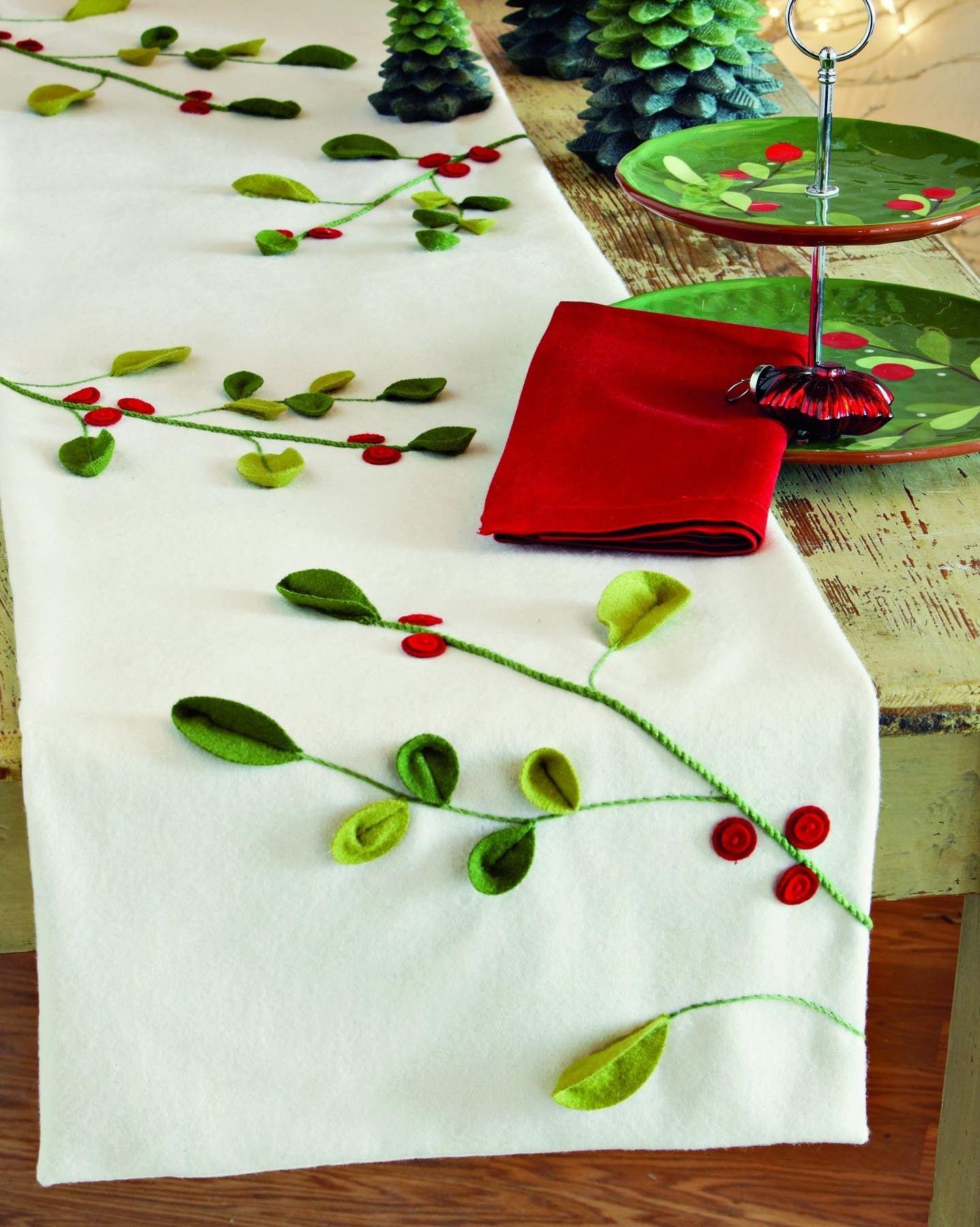 tag mistletoe ivory felt table runner   seasons  - tag mistletoe ivory felt table runner