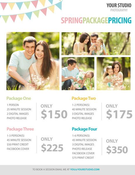 Free Template Spring Package Pricing For Photographers Photography Pricing Template Photography Pricing Photography Templates