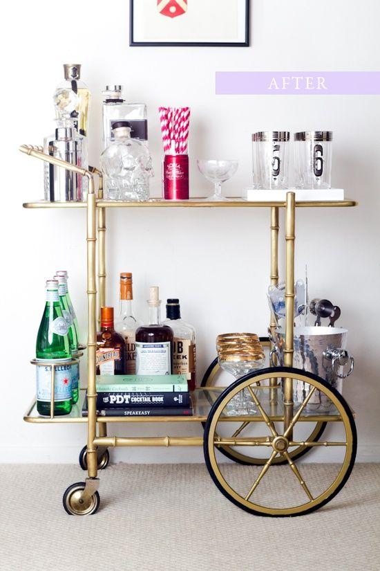 Retro vintage modern brass drinks trolley bar cart for Tea trolley ikea