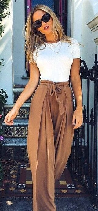31d41a59ef2 White + Camel Source. High waisted flowy pants Soft Pants Outfit