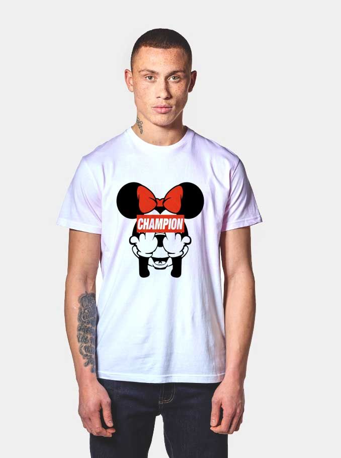 f35343e4f Minnie Middle Finger Champion T Shirt | Agilenthawking.com ...