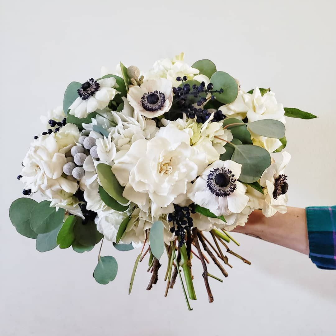 Winter Wedding Bouquet In Blue And White Anemones Gardenias Hydrangeas Eucalyptu Winter Wedding Bouquet Flower Centerpieces Wedding Anemone Bouquet Wedding