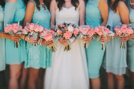 Aqua and Peach Bridesmaid Dresses