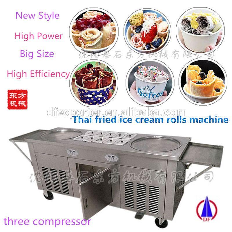 Thailand Double 2 Flat Pan Roll Fry Fried Ice Cream Machine Three