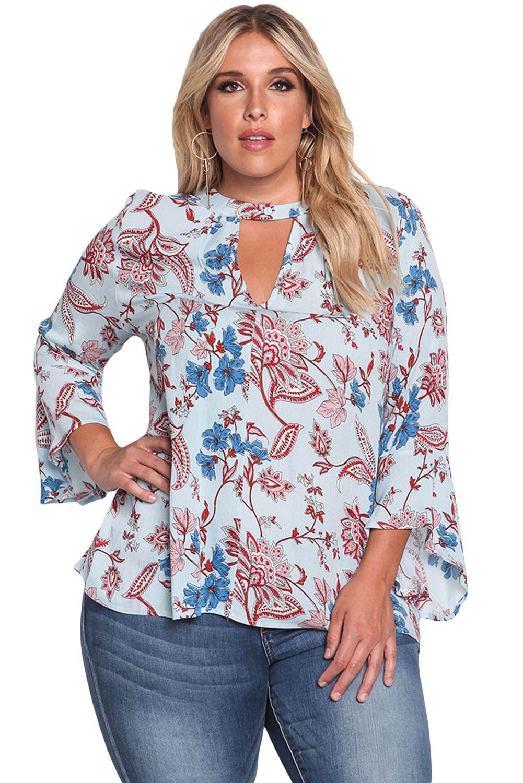 5f1fa2abee1 Light Blue Basecolor Floral Paisley Plus Size Blouse