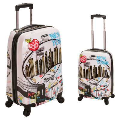 Rockland Luggage 2 Piece Polycarbonate/ABS Upright Luggage Set - New York - F215-NEWYORK, Durable