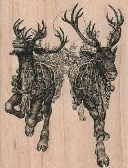 Rubber Stamp Large Christmas Reindeer By Pinkflamingo61 Santa Clause Sleigh Winter Crafts Stamping Card Holiday Tag Mary