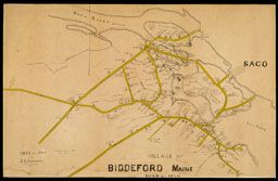James Gray Garland Village Of Biddeford Maine 1835 1840 1889 Manuscript Trimmed Across The Bottom Oml Collect Maine Map Hand Drawn Map How To Draw Hands