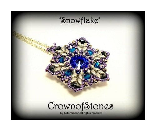 Bead Pattern Pendant  U0026 39 Snowflake U0026 39  Christmas Pattern With