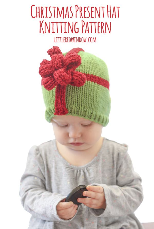 Christmas Present Bow Hat Knitting Pattern