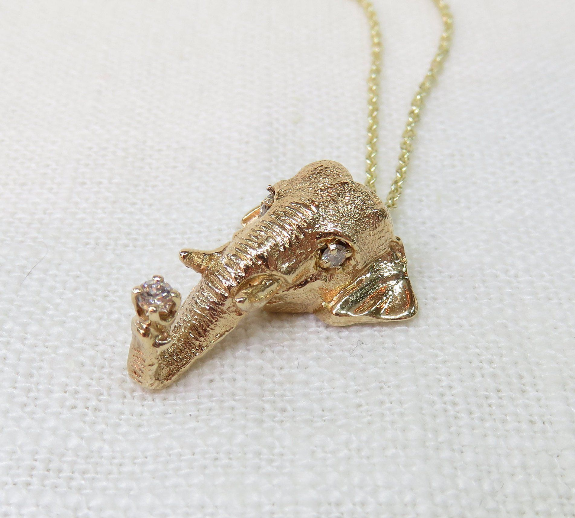 14k Gold And Diamond Elephant Pendant Necklace Vintage Necklace Elephant Necklace Vintage Elephant Pendant Necklace 14k Gold Ring Diamonds Elephant Pendant
