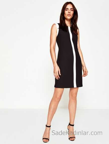 2018 Koton Elbise Modelleri Siyah Kisa Kolsuz Beyaz Serit Detayli Elbise Modelleri Elbise Moda Stilleri