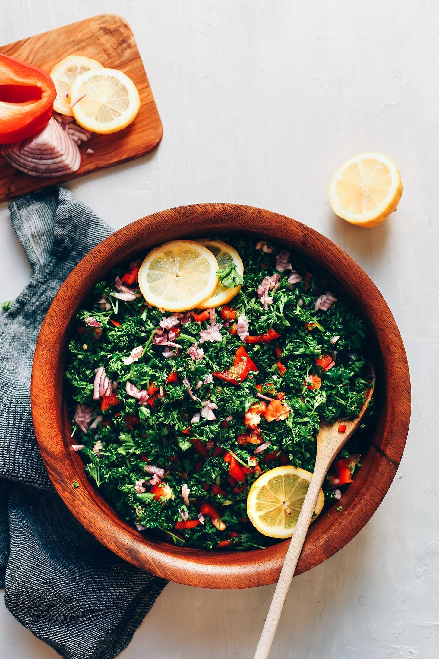 PERFECT Grain-Free Tabbouleh Salad! Detoxifying, 6 ingredients, flavorful! #vegan #glutenfree #tabbouleh #salad #plantbased #recipe #minimalistbaker