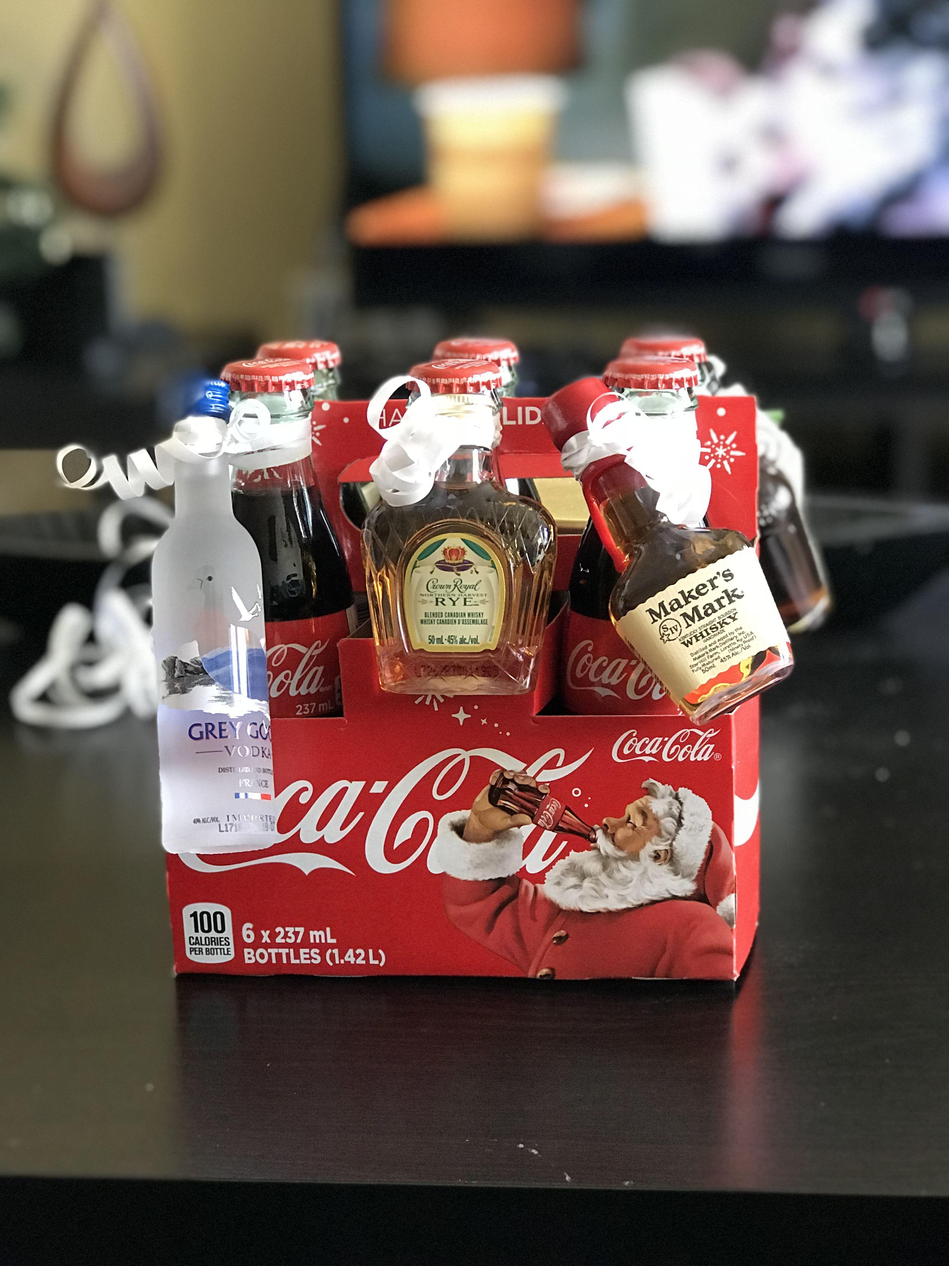 Christmas Coke With Mini Liquor Bottles Mom Gifts Pinterest