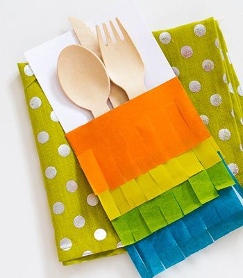 untensil pinata inspired holders for cinco de mayo; put fringe on seats or accordion folders