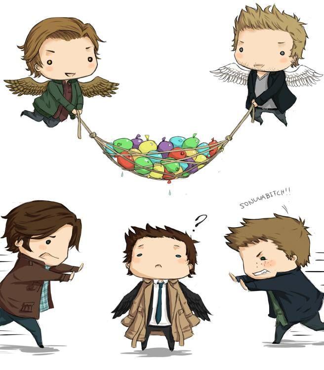 Sam, Dean, Cas, Gabriel, and Balthazar chibis - Supernatural