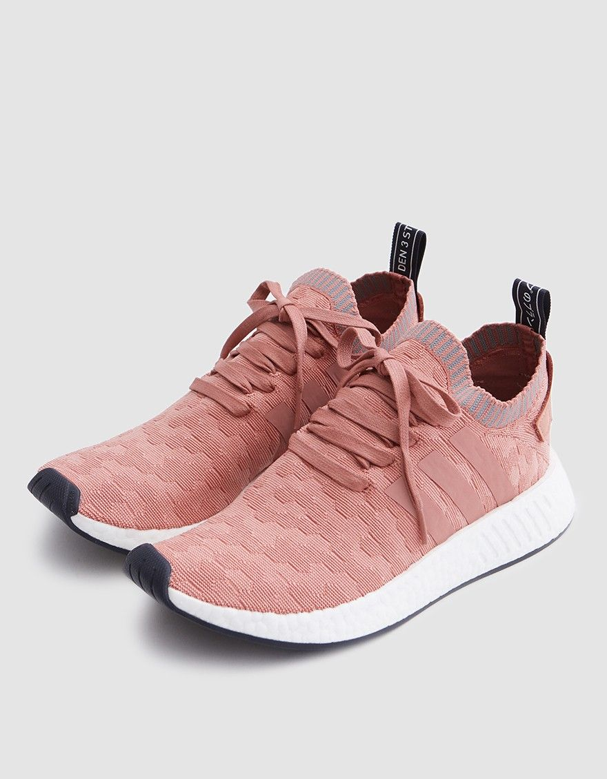 c656a020d Modern runner from Adidas in Raw Pink and Grey. Primeknit upper with  engineered graphic pattern. Lace-up front with flat woven laces. Leather  heel patch ...