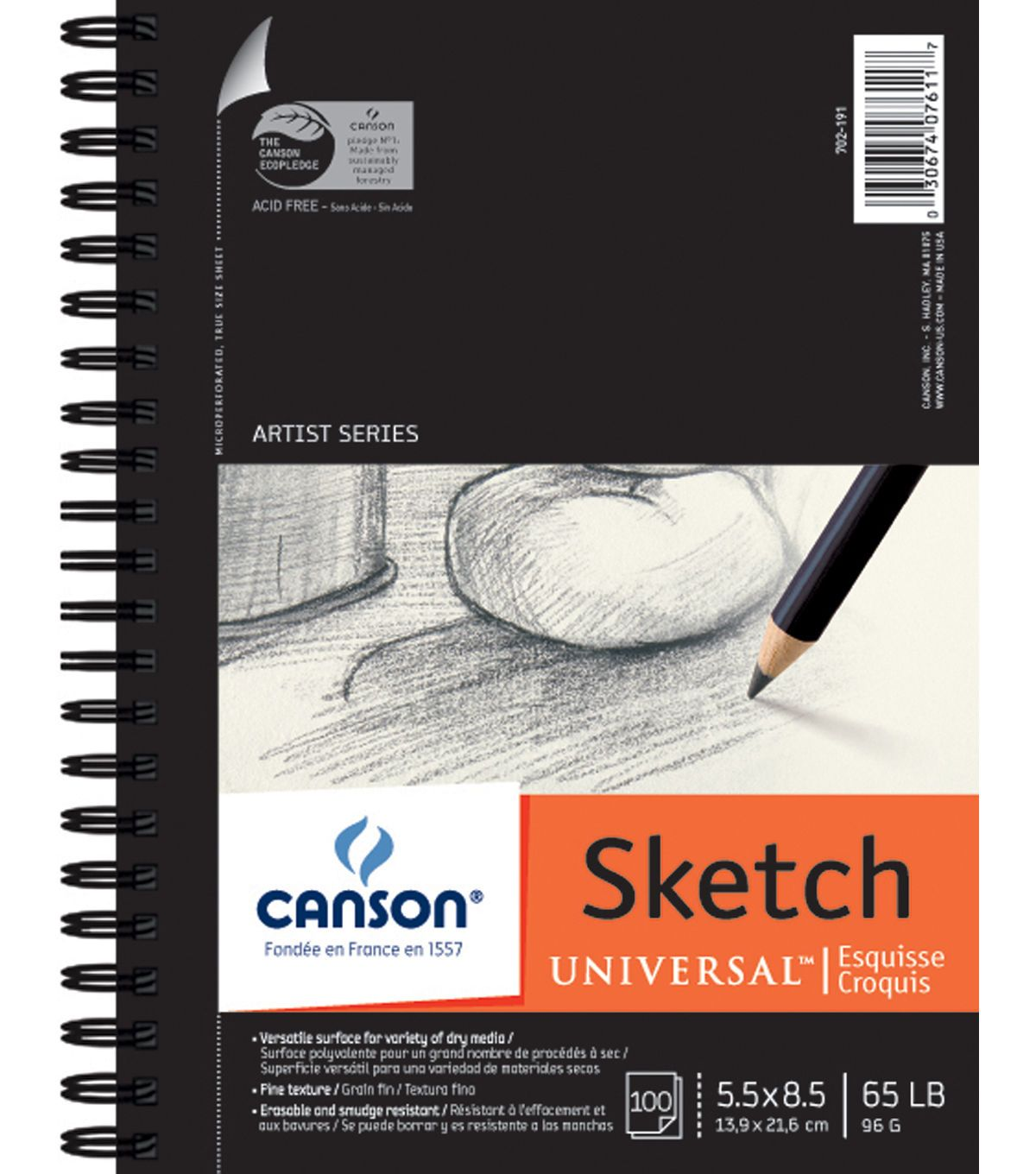 Canson Universal Spiral Sketch Book 5 5 X8 5 100 Sheets Sketch