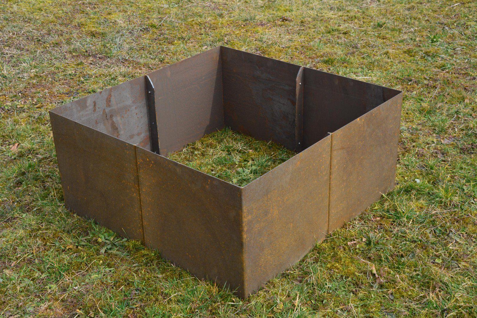 Hochbeet Cortenstahl / Edelrost GERADE 1 x 1 x 0,9 m in