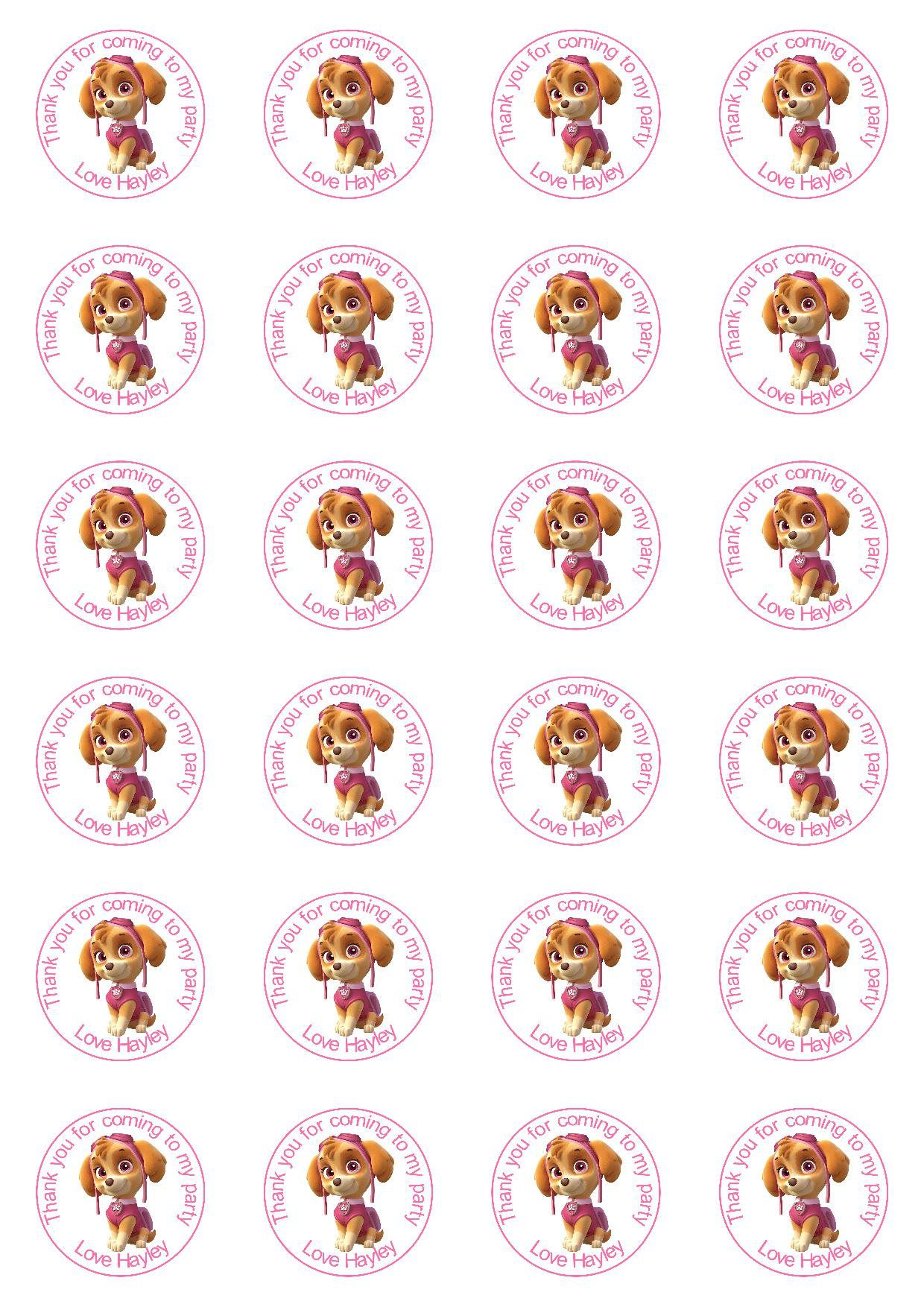 24 PAW PATROL Birthday party Stickers personalised Party Thank You