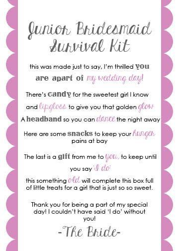 Junior Bridesmaid Survival Kit Card By Lulubellepapercrafts