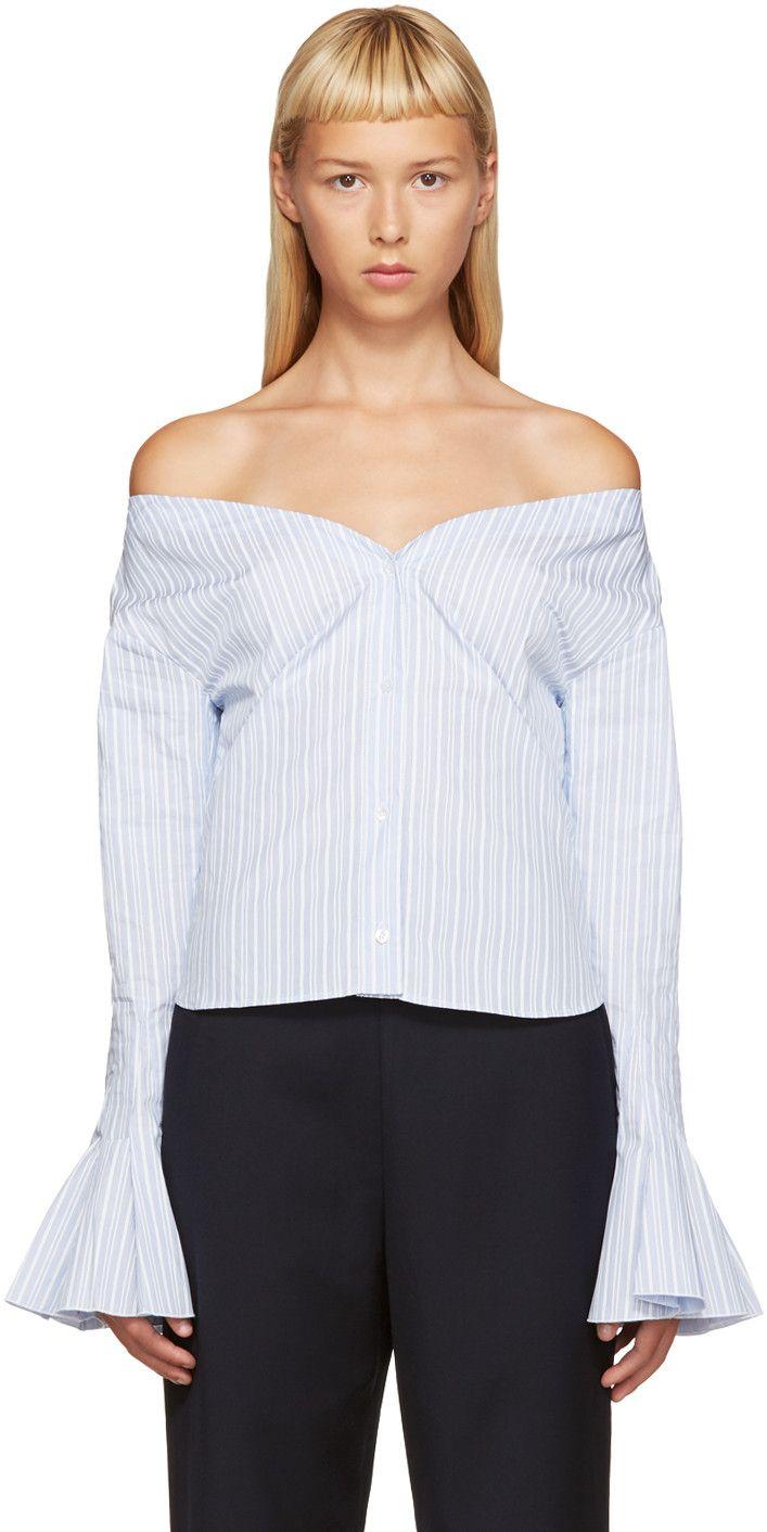 80cf7f1464 JACQUEMUS Blue & White Off-The-Shoulder Shirt. #jacquemus #cloth #shirt